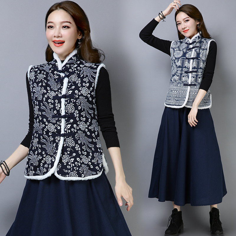 2019 new lady chinese style vintage vest coat women loose sleeveless outerwear flower embroidery female long jackets elegant