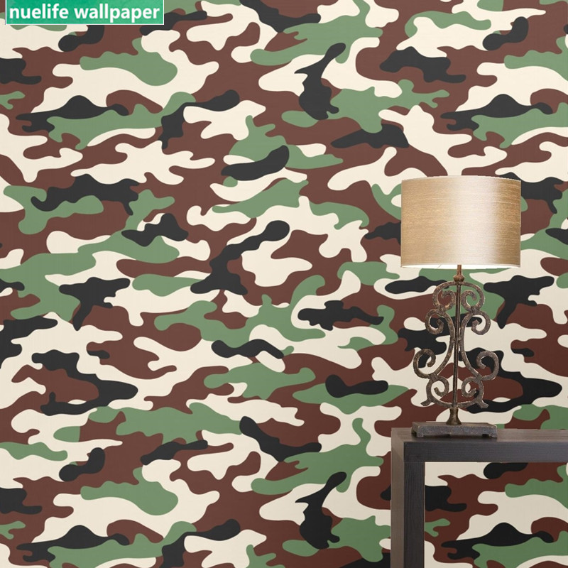 Us 2642 11 Offcamouflage Pattern Army Green Wallpaper Restaurant Club Living Room Kids Room Bedroom Tv Background Wall Decoration Wallpaper In