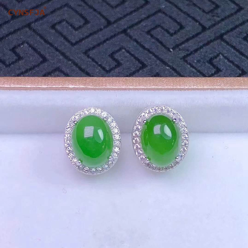 Certified Natural Hetian Jade Jasper Inlaid 925 Sterling Silver Handmade Lucky Jade Earrings Green High Quality Wonderful Gifts in Earrings from Jewelry Accessories