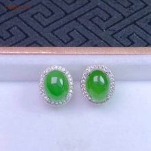 Certified Natural Hetian Jade Jasper Inlaid 925 Sterling Silver Handmade Lucky Earrings Green High Quality Wonderful Gifts