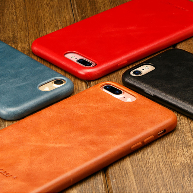 Jisoncase Genuine Leather Cover for iPhone 7 7 Plus Case Luxury Back Cover Slim Mobile Phone Case for iPhone 8 8 Plus Anti knock
