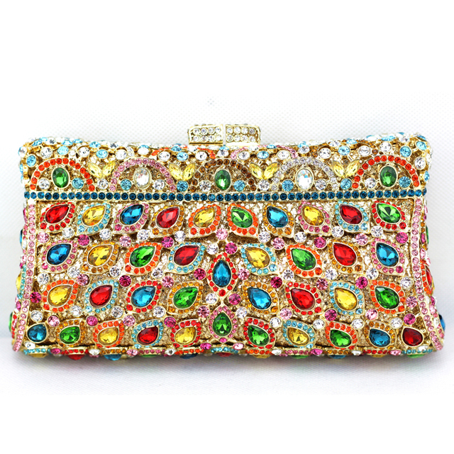 Multi Color Crystal Clutch Evening Bags Pillow Best Handmade Purses Designer For Wedding Party