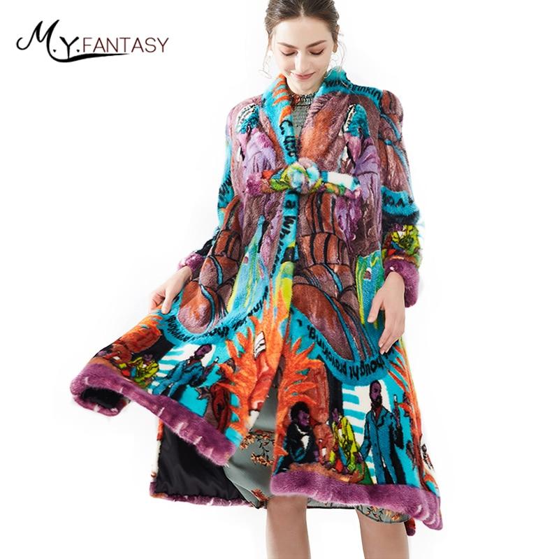 M. Y. FANSTY2017 Stampa Visone Cappotto Di Pelliccia Reale del Cappotto di Pelliccia Naturale Inverno Corona velluto importazioni delle Donne Con Scollo A V viola camouflage Cappotti di Visone