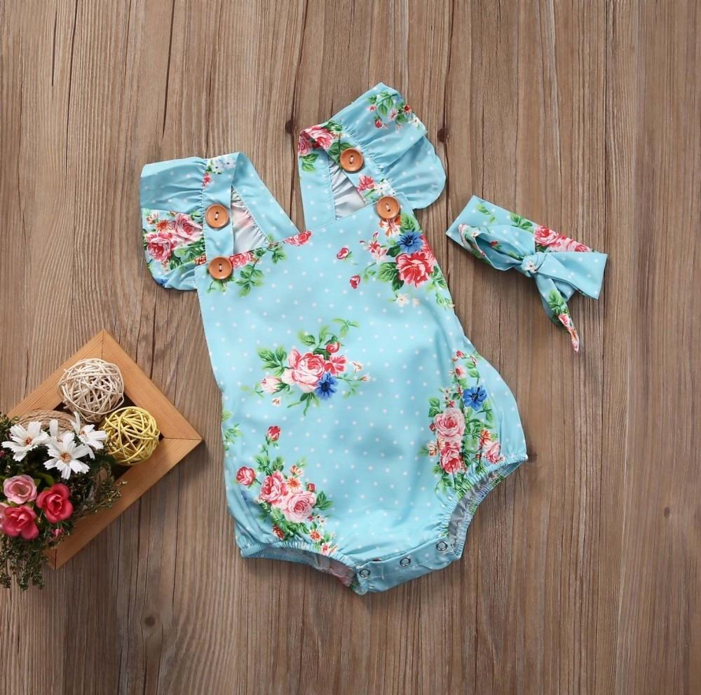 Newborn Baby Girls Floral One-pieces Romper Sunsuit Headband Clothes Set 0-24M