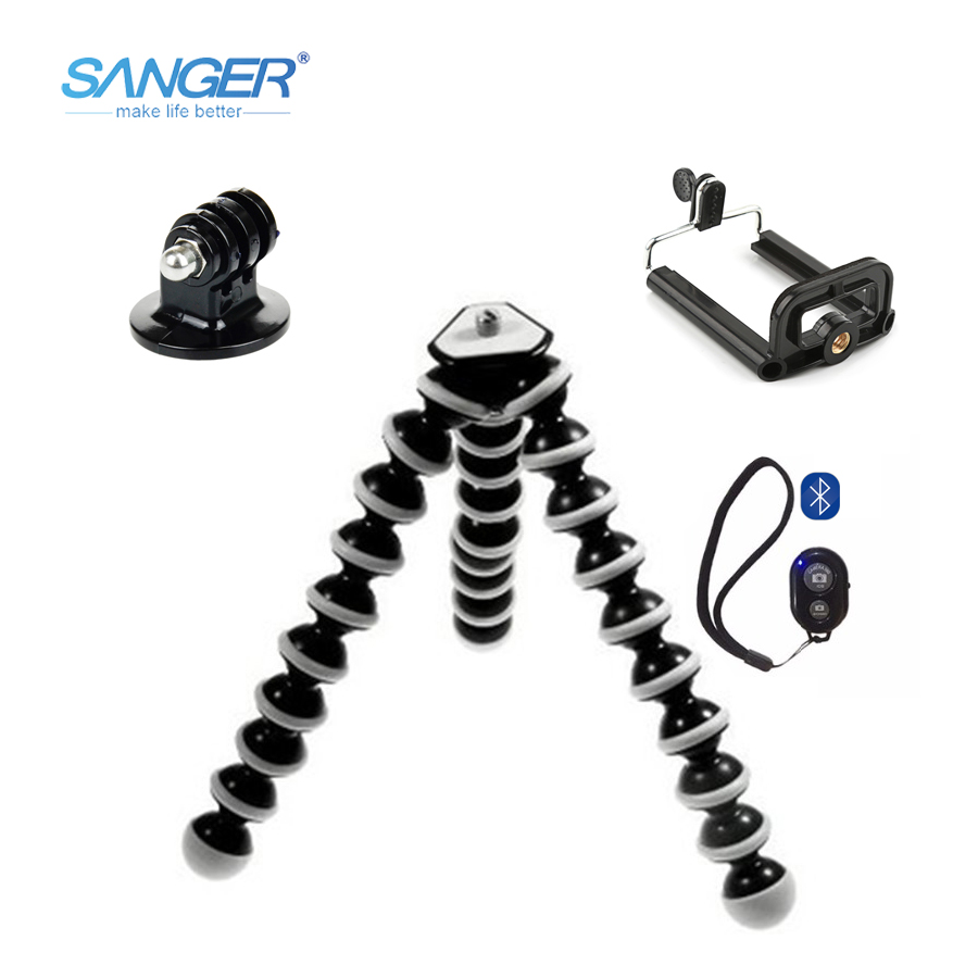 SANGER SLR Action Camera Mobile Phone Octopus Tripod+Mount Adapter Stand+Clip Small/Medium/Large with Bluetooth Remote Control