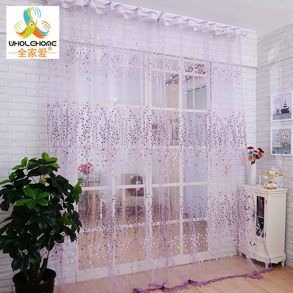 Floral printed window curtain fabric living room for Space curtain fabric
