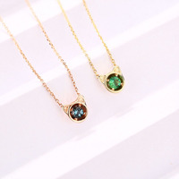 ANI 14K Yellow/Rose Gold Pendant Necklace 3mm Emerald or Blue Topaz Color Gemstone Jewelry Fashion Women Engagement Necklace