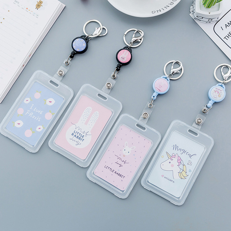 Kawaii Unicorn Retractable Badge Cute Cartoon Transparent Card ID Badge Holder Buckle Name Tag Card Holder For Gifts