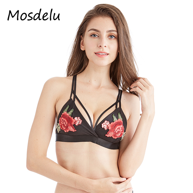225f7b0499666 Mosdelu Floral Embroidery Silky Sexy Bralette Sheer Strappy Push Up Bras  For Women Black Lingerie Deep V Bralette Tops Intimates