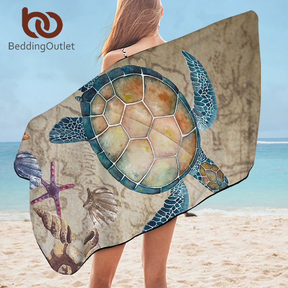 BeddingOutlet Sea Turtle Bath Towel Bathroom Map Tortoise Microfiber Beach Towel Starfish Nautical Shower Towel Summer Blanket