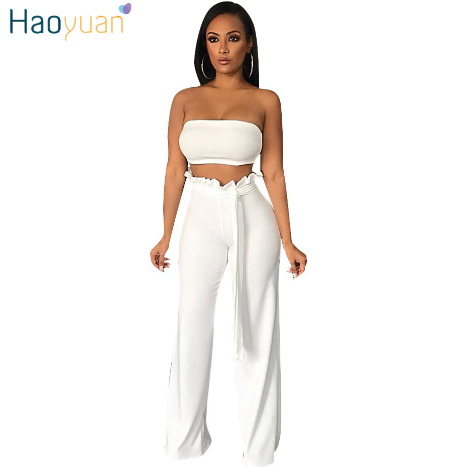 HAOYUAN Two Piece Set Club Outfits Sexy Off Sholder Strapless Crop Tops+Wide Leg Pants Suit 2 Piece Women Clothes Matching Set