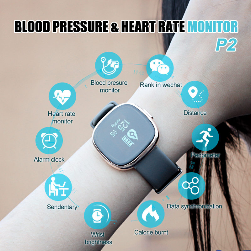 Fashion Sport Smart Bracelet P2 With Heart Rate Monitor Pedometer Sleep Fitness Tracker for Android IOS