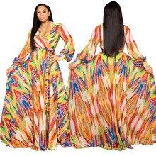 European And American Print Dress Women Sexy V-neck Long-Sleeve Chiffon Long Maxi Dress raglan sleeve chiffon maxi dress