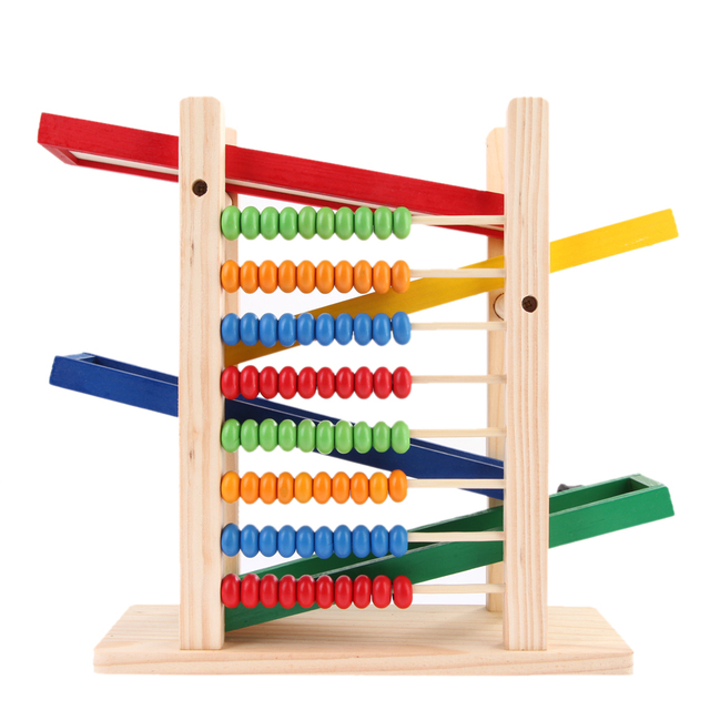 Montessori Abacus Toy with 4 Race Cars
