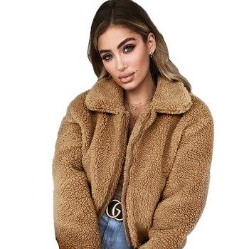 Autumn Winter Women Faux Fur Coat Casual Solid Warm Long Sleeve Faux Fur Zipper Jacket Coat Female