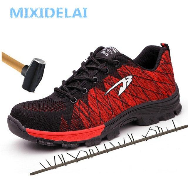 ビッグサイズ男性の通気性メッシュ鋼つま先キャップ作業靴ブーツ男性屋外アンチスリップ鋼パンク証拠 protetive 安全靴