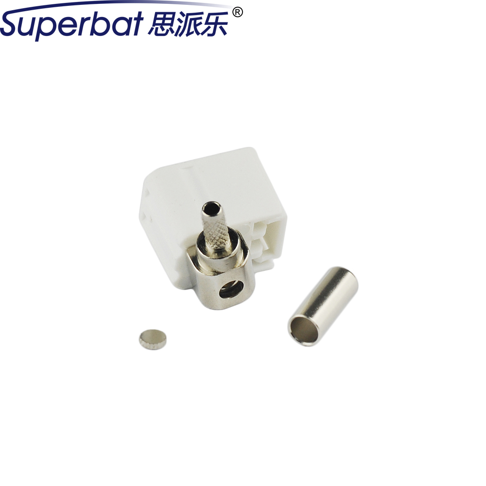 Superbat Fakra B White/9001 Jack Female Right Angle Radio With Phantom Crimp RF Coaxial Connector For Cable RG316 RG174 LMR100