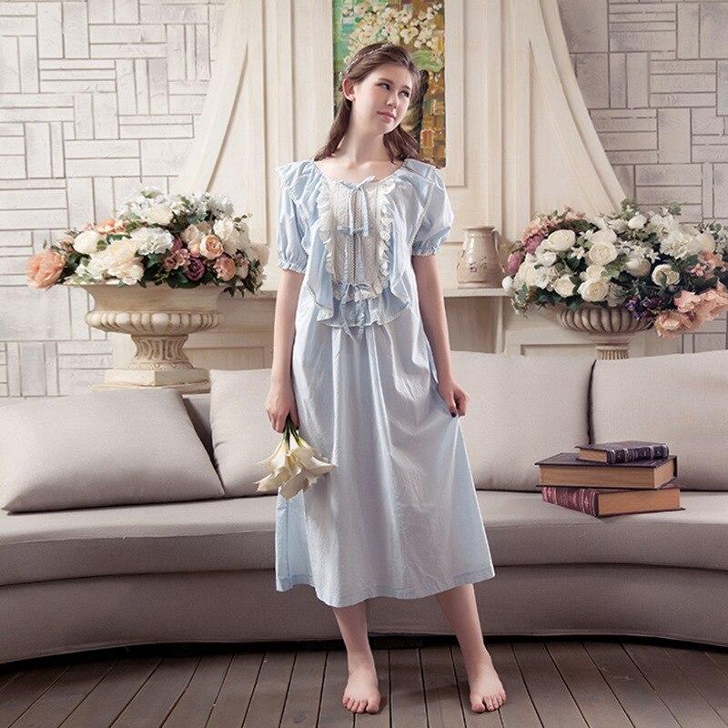 2017 New Summer Womens Vintage Fashion Lady Sleepwear Cotton Nightgown Sweet Princess Nightdress Women Pyjamas Nightshirt