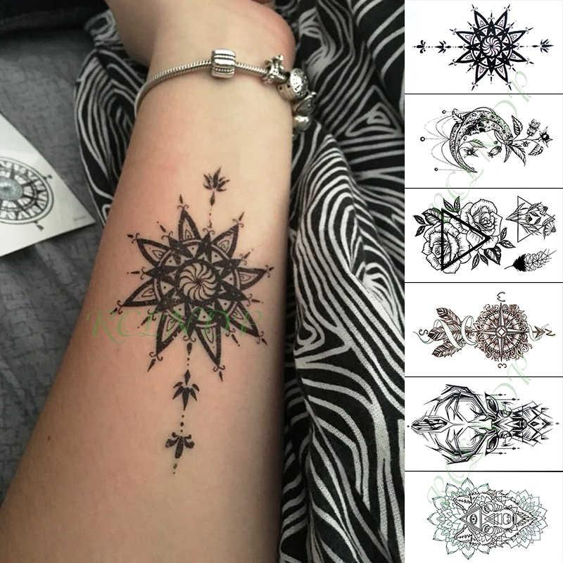 Tahan Air Sementara Tato Stiker Bunga Kompas Totem Rusa Palsu Tatto Tangan Lengan Kaki Flash Tato Untuk Anak Gadis Pria Wanita Aliexpress
