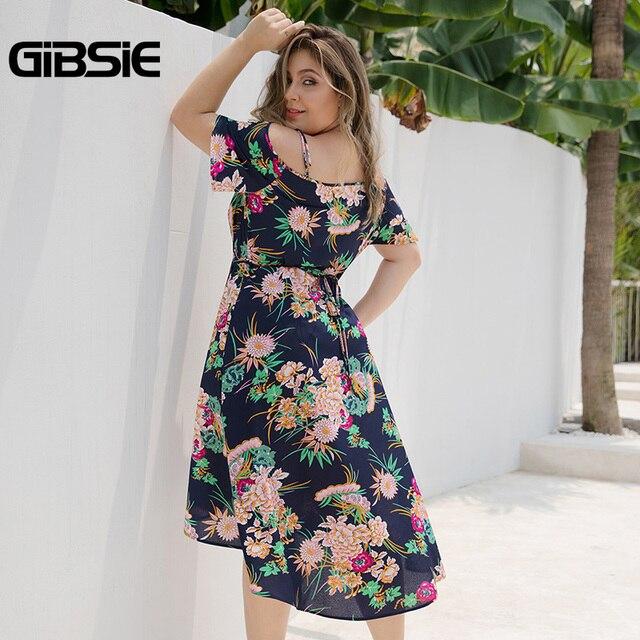 GIBSIE Plus Size Boho Floral Print Cami Wrap Dress Women Beach Summer Holiday Dress 2019 V-Neck Cold Shoulder Midi Dresses 2