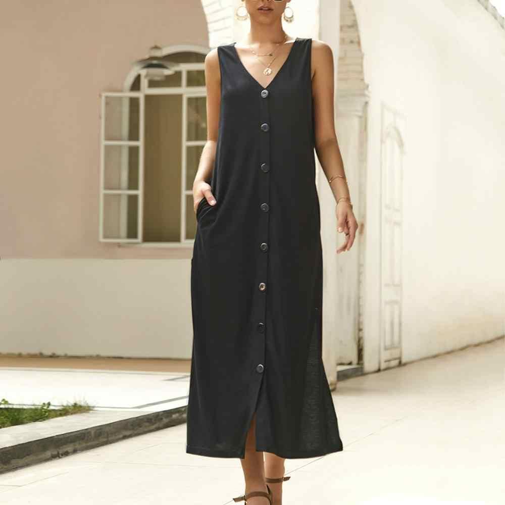 Летнее Длинное платье больших размеров, платье на пуговицах для женщин, платье на бретелях без рукавов с v-образным вырезом, свободное платье с карманами 193026