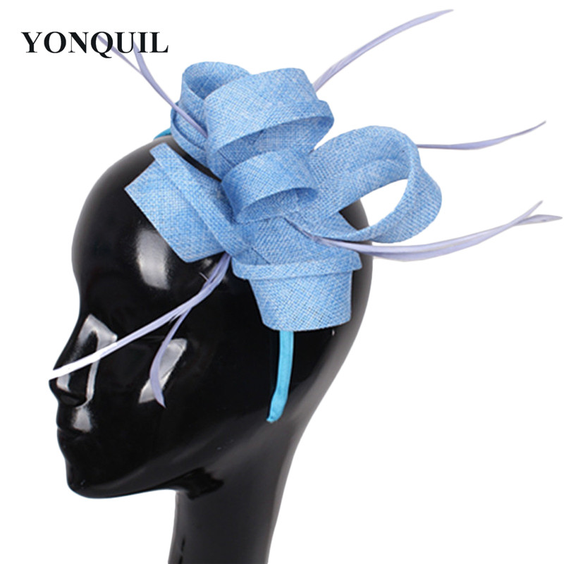 Imitation Sinamay Fascinator Women Wedding Hair Accessories Feather Hair Top Hat Light Blue Cocktail Hat Party Hats NEW ARRIVAL