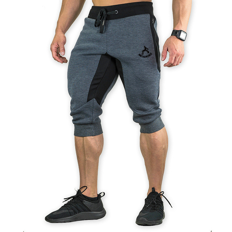 Men's Cotton Casual Shorts 3/4 Jogger Capri Pants Breathable Below Knee Short Pants With Three Pockets