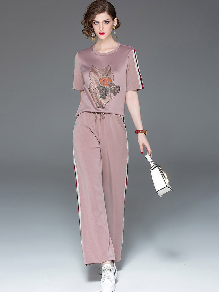 25a5de923d014 Haute Qualité Fashion Designer Femmes Tirelire Impression Costume Banlieue  Nouveau T-shirt + PantsTwo-pièce Femelle Ensembles Élégants Printemps  Tendance ...