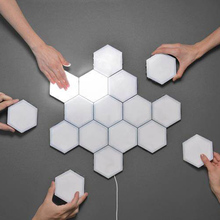 Quantum Lámpara led modular Hexagonal, sensible al tacto, luz nocturna, decoración creativa magnética, lámpara de pared