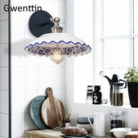 Chinese Style Vintage Ceramic Wall Lamp Led Mirror Light for Bedroom Kitchen Sconce Loft Industrial Home Decor Fixture Luminaire