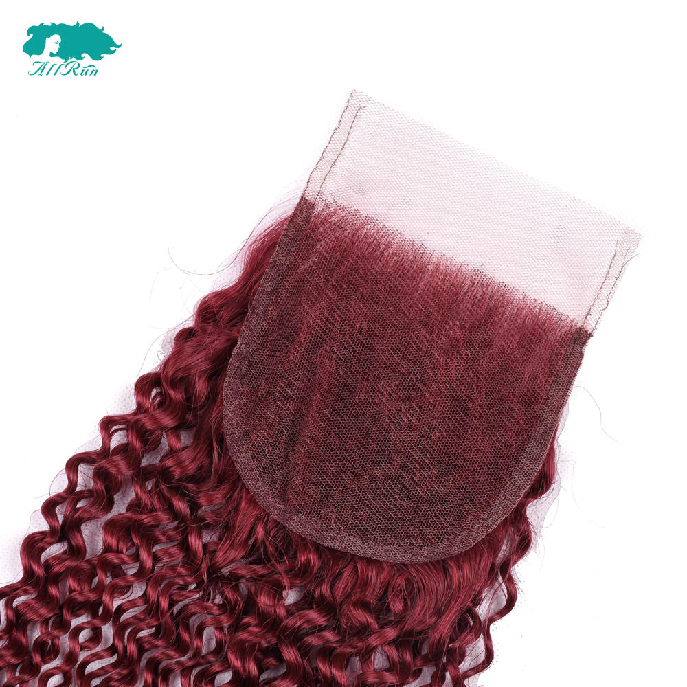 Allrun Hair Peruvian Kinky Curly Hair 3 Bundles Dark Red Human Hair Bundles With Closure Color 10-24 Inch Remy Hair