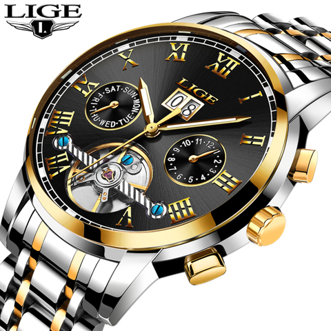 LIGE Mens Watches LIGE Top Brand Luxury Tourbillon Waterproof Automatic Mechanical Watch Mens Stainless Steel Sport Watch+Box Multan