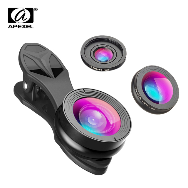 12af467c1e24a9 APEXEL 3 in 1 Clip Cell Phone Camera lenses Fisheye Lens + super Wide Angle  +super Macro Lens for iPhone 6 7 Samsung Xiaomi SJ3
