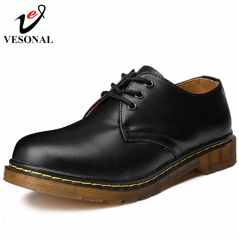 1ae881032 VESONAL осень качество из натуральной кожи мягкие классические мужские  кроссовки для Мужская обувь взрослой моды Повседневное