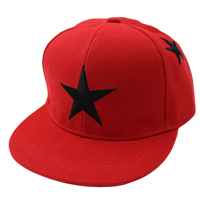 Embroidered Star Children's Snapback Cap - Red