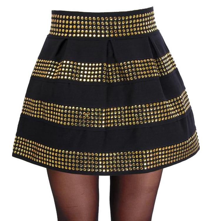 plata Rivet de bola cintura corta alta Faldas mullido vendaje elástica Mujer tachonado 657 la oro 2014 falda 7txwfYgqt