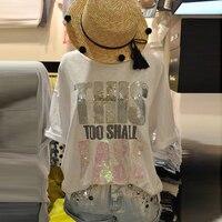 Plus Size T Shirt Women 2017 Summer Fashion Letter Sequins Short Sleeve T Shirt Female Loose