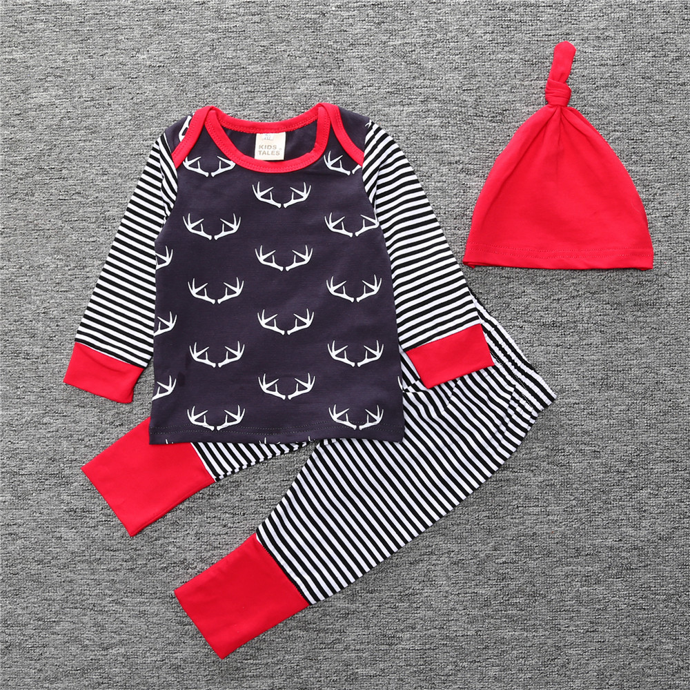 2017 autumn baby boy girl deer pattern  clothes children baby 3pcs fashion clothes set cute baby cotton Long sleeve shirt and pa new hot sale 2016 korean style boy autumn and spring baby boy short sleeve t shirt children fashion tees t shirt ages