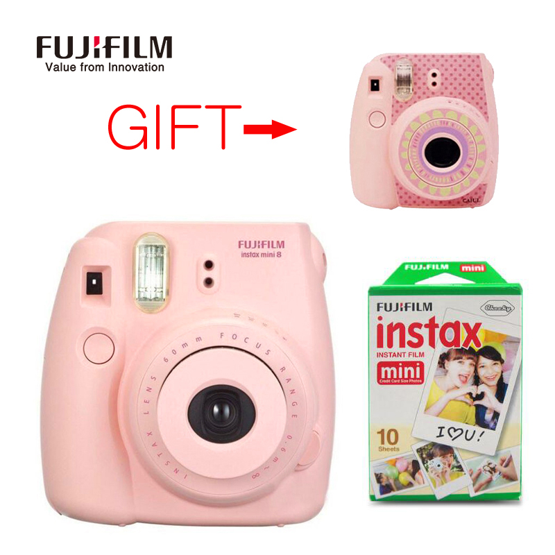 Fujifilm Fuji Instax Mini 8 Instant Film Photo Camera + 10 Sheets Fujifilm mini Films New Year Christmas Gift Camera stickers new 5 colors fujifilm instax mini 9 instant camera 100 photos fuji instant mini 8 film