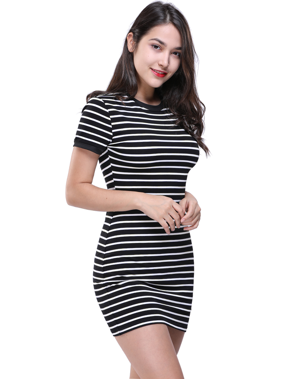 Enough Stock Summer Round Neck Short-sleeved Dress Black And White Striped Dresses Casual Elegant Slim Dress Dropshipping