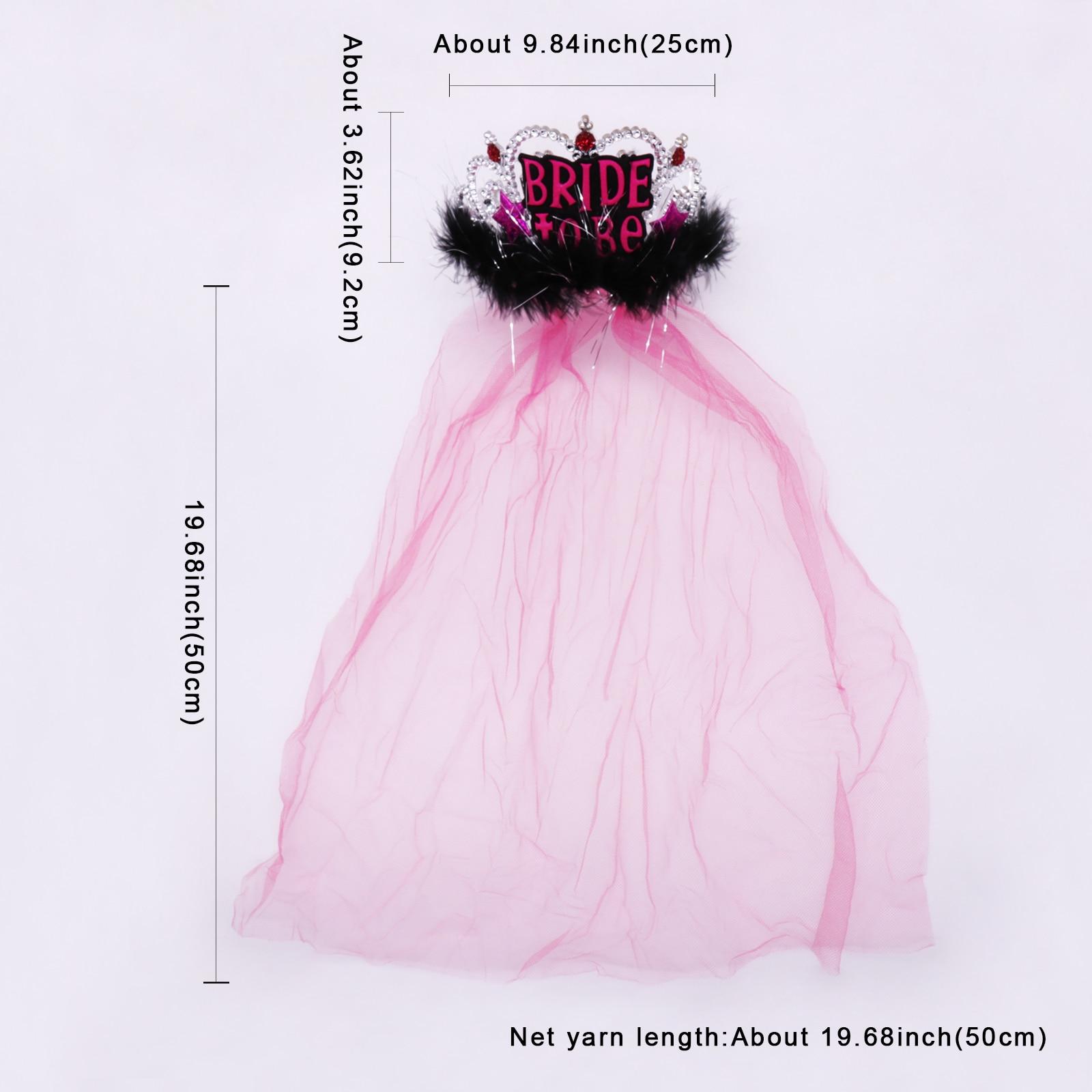 Купить с кэшбэком Bridal to be Pink black Crown veil girls favor Bachelorette party headwear bridesmaid team party decorations bridal accessories