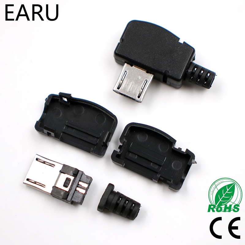10sets/lot Micro 5P USB Male Plug Solder Type Tail Charging Plug 90 Degree Free Shipping Connector Adapter Plug