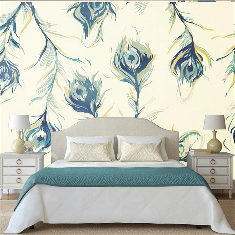 Customize Peacock Wallpaper Minimalist 3d Wall Murals for Living Room Embossed Non-Woven Environment Friendly Kitchen Bedroom customize photo wallpaper murals slovenia lake 3d embossed wallpaper environment friendly tv background wall paper for kids room