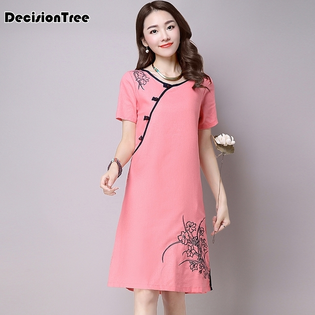 2019 summer chinese traditional dress qipao women cheongsam chinese style female embroidery short sleeve chinese oriental dress