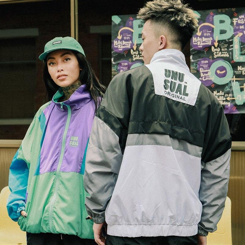 Automne 2018 Hip Hop coupe-vent veste surdimensionné hommes Harajuku couleur bloc veste manteau rétro Vintage Zip piste veste Streetwear - 4