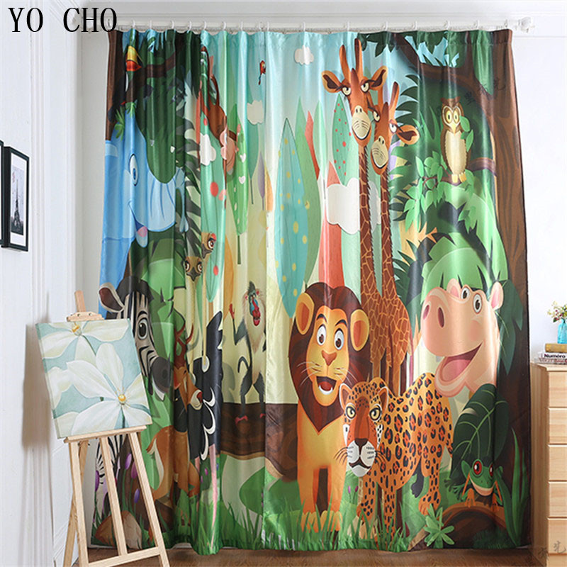 YO CHO cartoon animals tiger lion deer window curtains for kids room European and American style living room blackout curtains YO CHO cartoon animals tiger lion deer window curtains for kids room European and American style living room blackout curtains