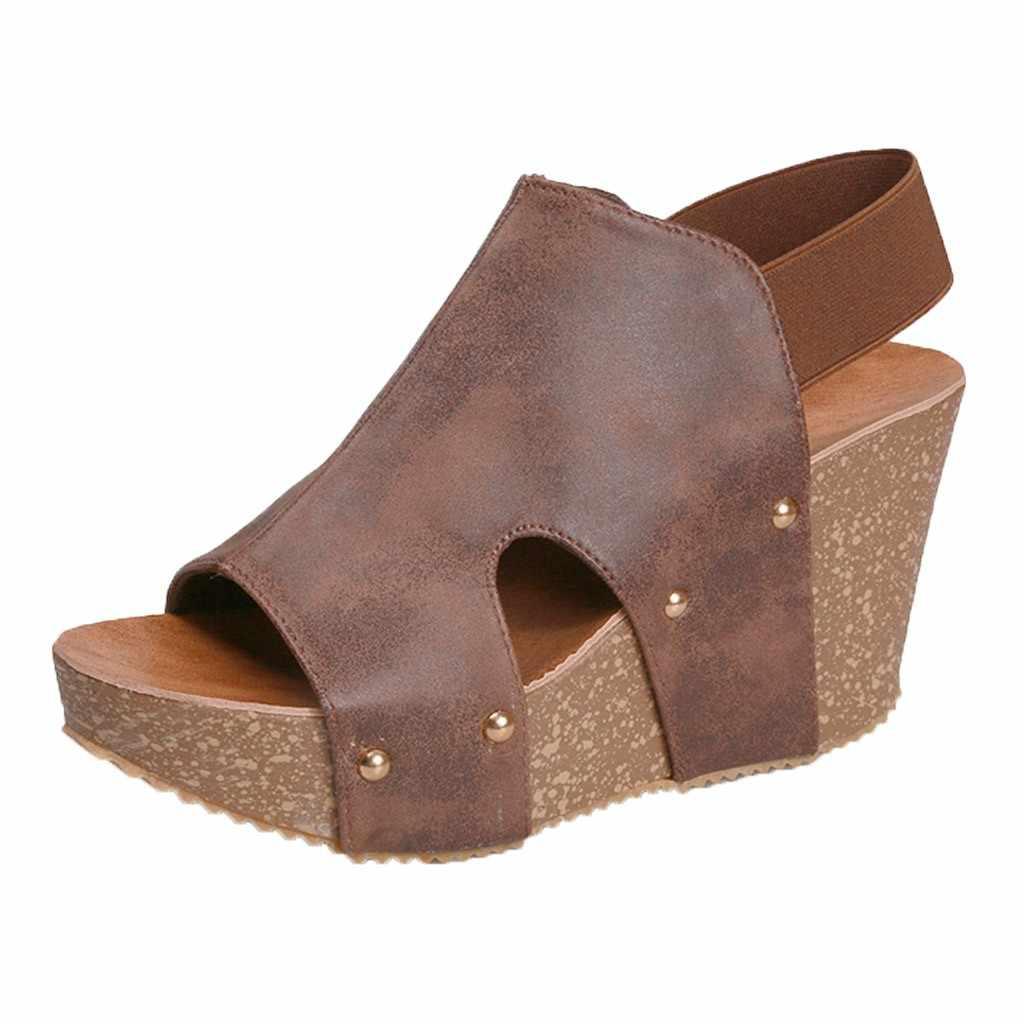 Kadın yaz ayak bileği kayışı platformu kama sandalet kalın gladyatör hakiki deri Platform sandaletler yüksek topuklu ayakkabılar Dropshipping