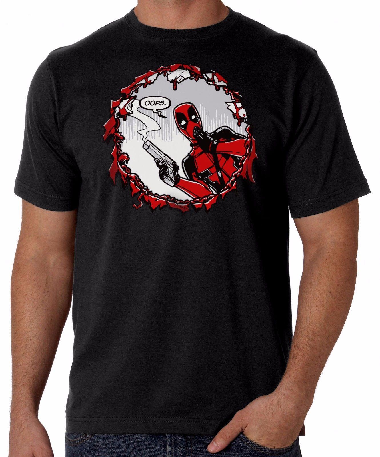 Deadpool Ooops Gun Shot T-Shirt Mens Black Comedy T-Shirt