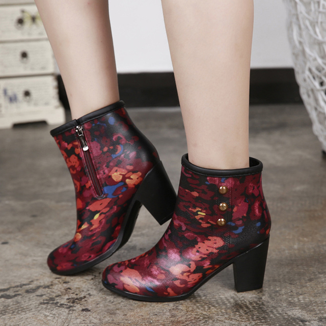 EISWELT Herbst Frauen Mode Regen Stiefel Weibliche Mittelrohr Regen Stiefel mit High Heel Damen Modische Casual Schuhe Frauen Stiefel