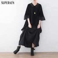 SuperAen 2018 Spring New Women's Sets Loose Pluz Size Stripes Women Shirt Elastic Waist Ladies Skirt Cotton Fashion Two Pieces